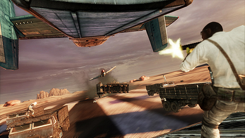 UC3 Multiplayer - Nathan Drake shooting from a plane